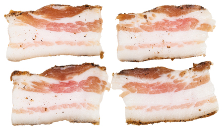 speck: four pieces of speck isolated on white background