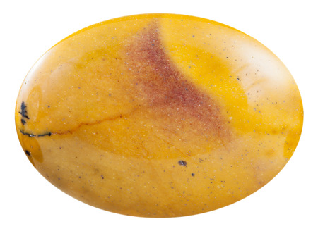 cabochon: macro shooting - cabochon from yellow mookaite (australian jasper) mineral gemstone isolated on white background