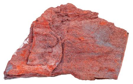 ferruginous: macro shooting of natural rock specimen - pebble of ferruginous quartzite ( jaspillite, jaspilite, taconite, itabirite, hematite, iron ore) mineral isolated on white background Stock Photo