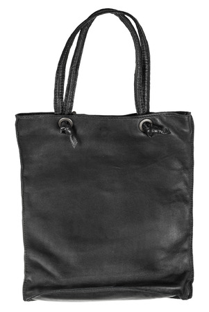 imitation leather: simple handbag from black artificial leather isolated on white background