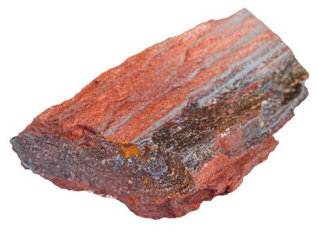 quartzite: macro shooting of natural rock specimen - stone ore from ferruginous quartzite ( jaspillite, jaspilite, taconite, itabirite, hematite, iron ore) mineral isolated on white background