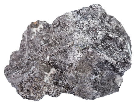 allotrope: macro shooting of natural rock specimen - piece of graphite mineral stone isolated on white background