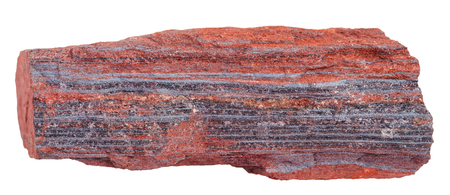 ferruginous: macro shooting of natural rock specimen - schist from ferruginous quartzite ( jaspillite, jaspilite, taconite, itabirite, hematite, iron ore) mineral isolated on white background