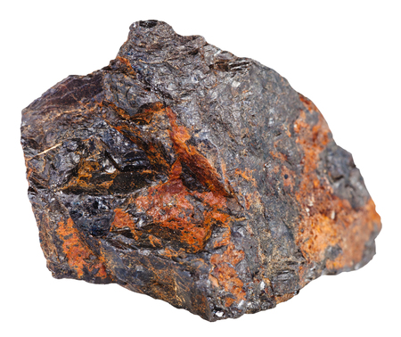 specimen: macro shooting of natural rock specimen - wolframite mineral stone in iron ore isolated on white background Stock Photo