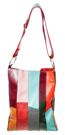 shoulder bag: shoulder bag from multi-colored leather pieces isolated on white background