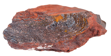 quartzite: macro shooting of natural rock specimen - gemstone of ferruginous quartzite ( jaspillite, jaspilite, taconite, itabirite, hematite, iron ore) mineral isolated on white background
