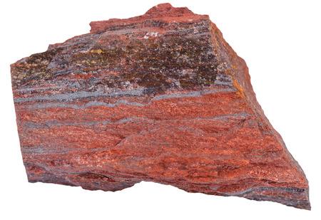 quartzite: macro shooting of natural rock specimen - piece of ferruginous quartzite ( jaspillite, jaspilite, taconite, itabirite, hematite, iron ore) mineral isolated on white background