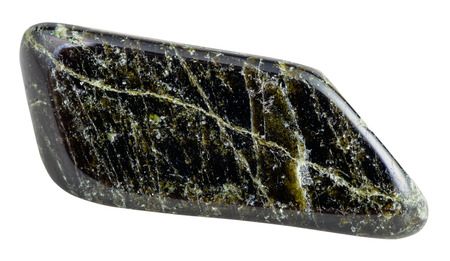 gemmology: macro shooting of natural gemstone - tumbled dark green Diopside mineral gem stone isolated on white background