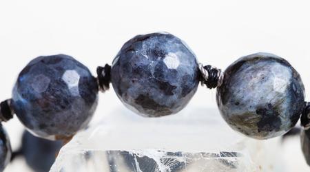 labradorite: necklace from gray labradorite gem stone close up Stock Photo