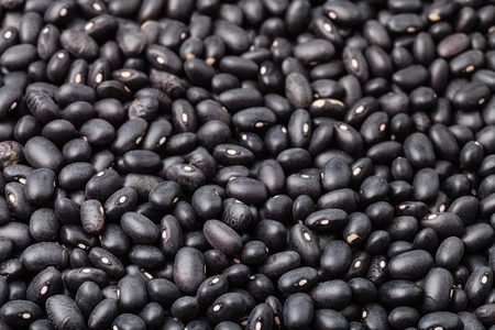 turtle bean: many scattered raw Black turtle beans on surface