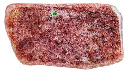 aventurine: macro shooting of natural gemstone - tumbled red aventurine mineral gem stone isolated on white background Stock Photo