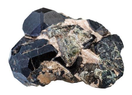 spinel: macro shooting of natural rock specimen - black, green diopside gemstones and black spinel gem isolated on white background