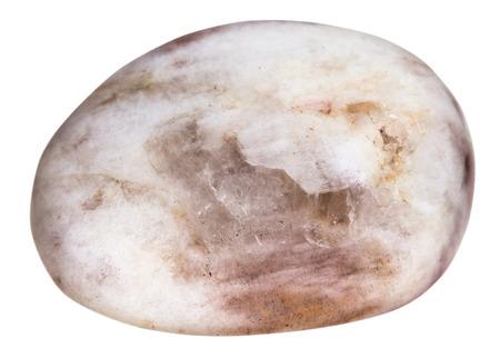 tumbled: macro shooting of natural gemstone - tumbled moonstone (moon-stone), mineral gem stone isolated on white background