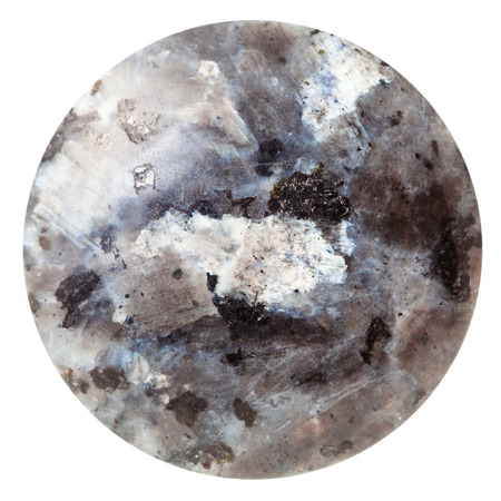 labradorite: macro shooting - tumbled round cabochon of labradorite mineral gemstone isolated on white background