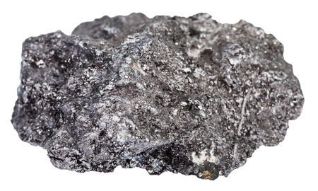 allotrope: macro shooting of natural rock specimen - pebble of graphite mineral stone isolated on white background
