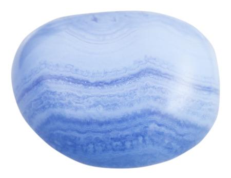 tumbled: macro shooting of natural gemstone - tumbled blue chalcedony (Blue Agate, sapphirine) mineral gem stone isolated on white background