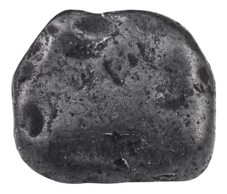 tumbled: macro shooting of natural gemstone - tumbled shungite mineral gem stone isolated on white background