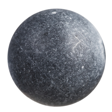 macro shooting - sphere from gray shungite mineral gemstone isolated on white background