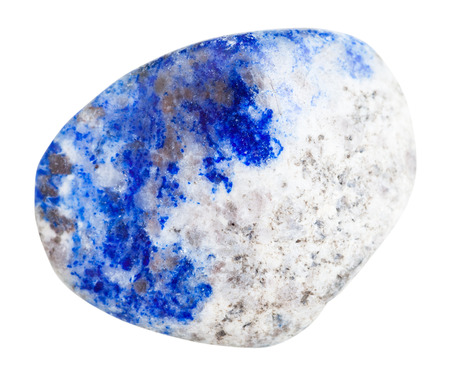 lapis: macro shooting of natural gemstone - polished lapis lazuli (azure stone, lazurite) mineral gem stone isolated on white background