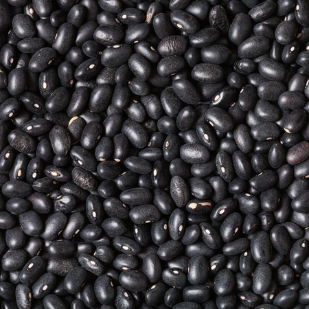 turtle bean: square food background - many raw Black beans close up