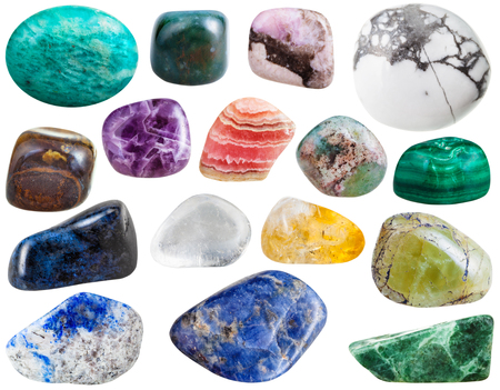 sodalite: set of beryl, rhodochrosite, sodalite, lazurite, dumortierite, bloodstone, amethyst, moss agate, malachite, rock-crystal, citrine, jadeite, tiger eye, amazonite, howlite gemstones isolated on white