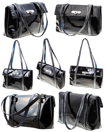 patent leather: set from black patent leather ladies bag isolated on white