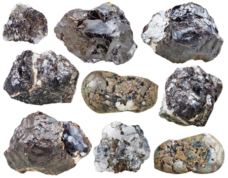 sphalerite: set of Sphalerite rocks and polished mineral stones isolated on white background
