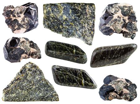 spinel: set of Diopside rock, polished gemstones, crystals isolated on white background