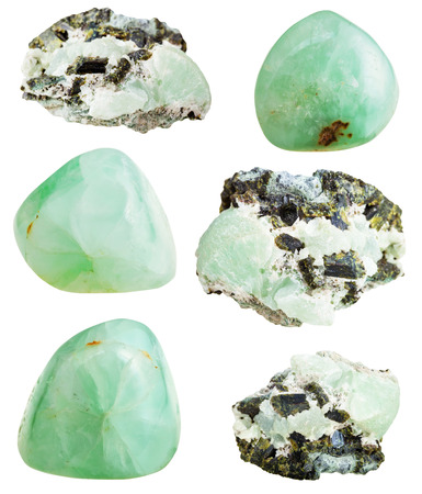 green gemstones: set of green Prehnite mineral stone and polished gemstones isolated on white background