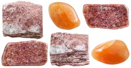 tumbled stones: set of pink aventurine rocks and polished gemstones isolated on white background