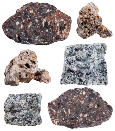 mineral stone: set of various basalt mineral stone isolated on white background