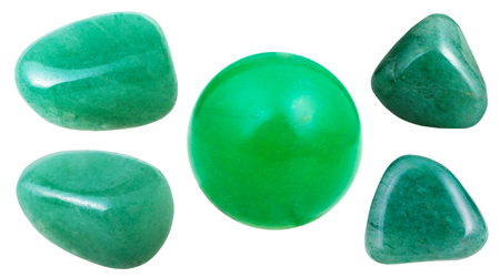 gemmology: set of green Aventurine gemstones isolated on white background close up Stock Photo