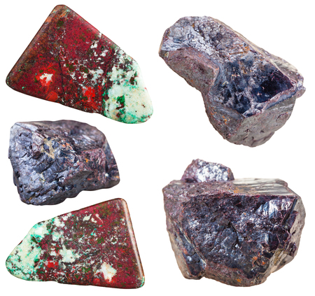tumbled stones: set of Cuprite mineral stones and polished gemstones (with chrysocolla) isolated on white background Stock Photo