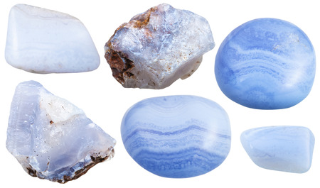 chalcedony: set of blue chalcedony (Blue Agate, sapphirine) crystals and polished gemstones isolated on white background Stock Photo