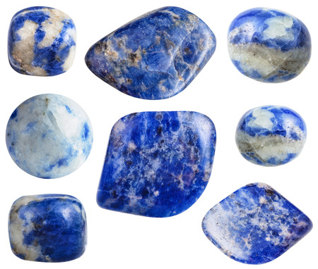 sodalite: set of blue Sodalite gemstones isolated on white background