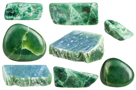 set of various green nephrite gemstones isolated on white background
