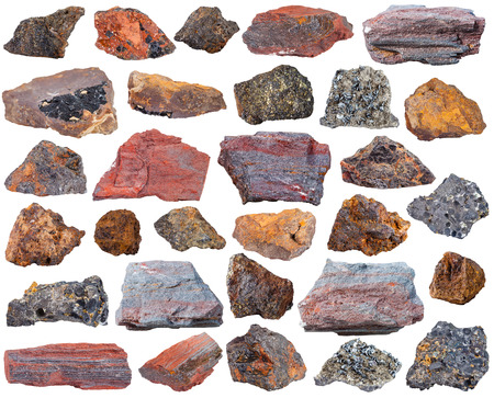 magnetite: set of specimens of natural mineral rocks - various iron ore stones Stock Photo