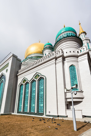 walls of Moscow Cathedral Mosque - main mosque of Moscow, Russia.