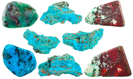 cuprite: set of Chrysocolla mineral stones and polished gemstones isolated on white background