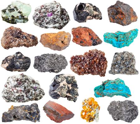 spinel: spinel, wolframite, chrysocolla, gemstone, magnetite, limonite, jaspillite, hematite, pisolite, graphite, spessartine, garnet, corundum, andradite, melanite, prehnite, epidote mineral stones on white Stock Photo