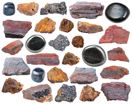 magnetite: set of various Hematite mineral stones and rocks isolated on white background Stock Photo