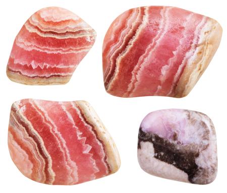 gemmology: set of polished Rhodochrosite gemstones isolated on white background Stock Photo