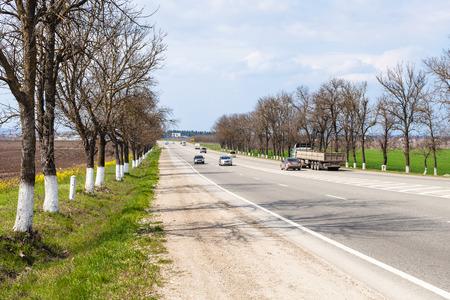 kuban: federal highway Krasnodar - Novorossiysk in Kuban region, Russia in spring