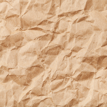 creasy: square background from brown colour crumpled paper Stock Photo
