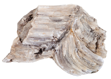 macro shooting of natural mineral stone - piece of raw Baryte (barite) rock isolated on white background