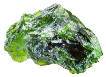 emerald stone: macro shooting of natural mineral stone - raw chrome diopside (green diopside, Siberian emerald) crystals isolated on white background Stock Photo