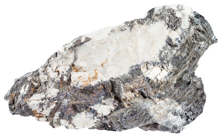iridescent: macro shooting of natural mineral stone - gray bismuthinite mineral and iridescent native bismuth in quartz rock isolated on white background