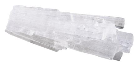 specimen: macro shooting of natural mineral stone - specimen of raw Scolecite gemstone isolated on white background