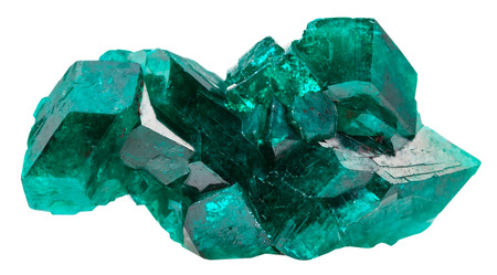 macro shooting of natural mineral stone - druse of emerald-green crystals of dioptase isolated on white background