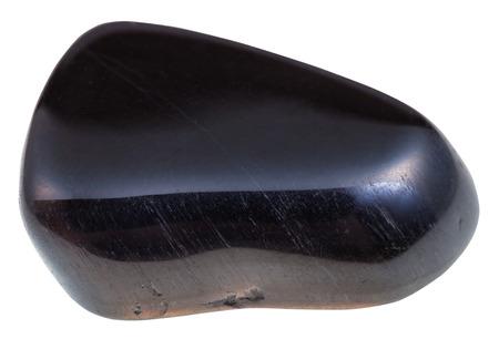 tumbled: macro shooting of natural mineral stone - tumbled hawks eye gemstone isolated on white background